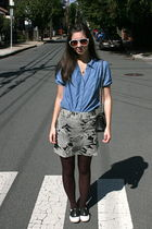 black Chanel purse - blue Forever21 shirt - gray Anthropologie skirt - white Urb