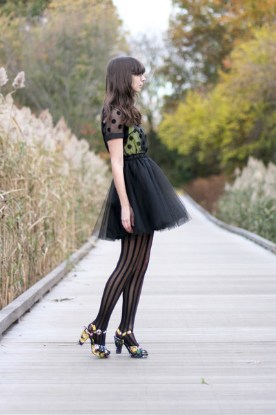 yellow H&M top - black modcloth dress - black Urban Outfitters tights