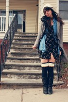 heather gray Urban Outfitters coat - blue Forever 21 shirt - black H&M dress - d
