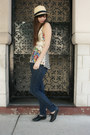 Black-big-buddha-shoes-navy-bcbgeneration-jeans-tan-hat-eggshell-anthropol