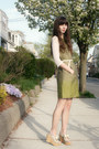 Olive-green-dress-ivory-urban-outfitters-top-lime-green-jellypop-wedges