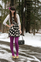 magenta Target tights - black thrifted dress - black Chanel purse