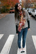 tan Victorias Secret sweater - black Gap t-shirt - brown H&M scarf - blue Gap je