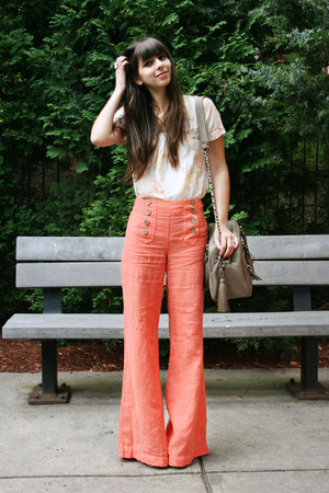 tan theIT bag - light orange Anthropologie pants - ivory Urban Outfitters top