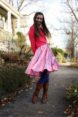 pink vintage skirt - dark brown Frye boots - hot pink H&M sweater
