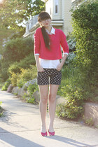 navy DIY shorts - hot pink H&M sweater - white BCBG shirt