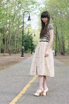 beige vintage skirt - black Jcrew sweater - ivory seychelles heels