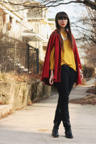 mustard swapped sweater - black Dolce Vita boots - black Gap pants