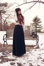 Ivory-gap-sweater-purple-printed-h-m-scarf-black-maxi-skirt