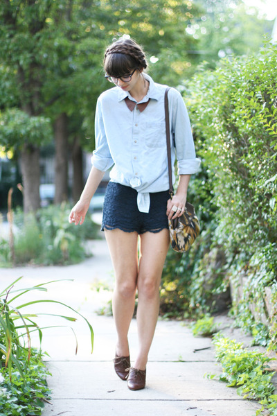 navy Forever 21 shorts - dark brown big buddha shoes