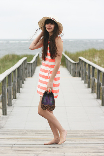 brown Blowfish Shoes flats - orange Jcrew dress - beige Forever21 hat