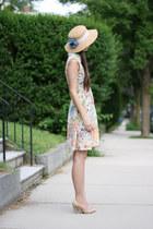 sky blue thrifted hat - salmon handmade dress - beige Forever 21 heels