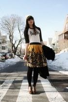 black DKNY coat - off white Forever21 hat - black Express socks - dark brown Mad