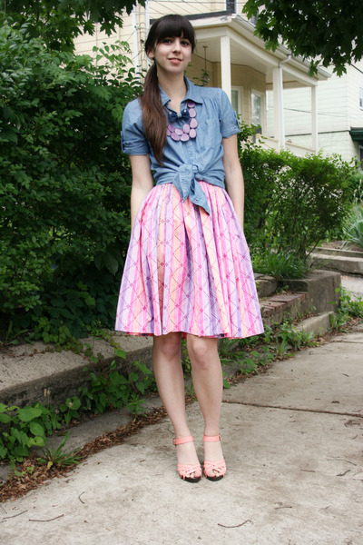salmon H&M shoes - blue Forever 21 shirt - pink vintage skirt - amethyst Anthrop