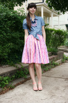 salmon H&M shoes - blue Forever 21 shirt - pink vintage skirt - amethyst Anthrop