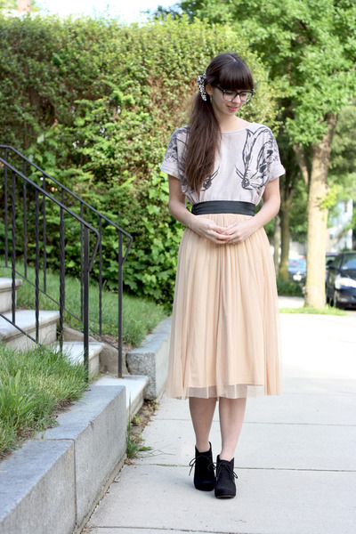 peach Urban Outfitters skirt - black Target boots - beige modcloth t-shirt