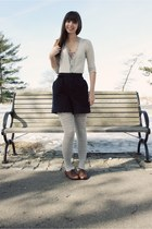 brown big buddha shoes - heather gray tights - navy vintage shorts - heather gra