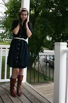 blue Gap dress - beige socks - brown Frye boots - pink HollyDoll by HollyKeenan