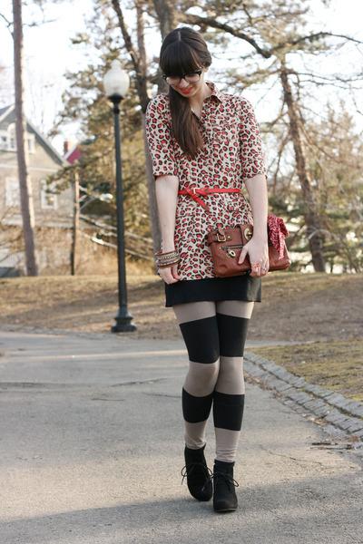 tan H&M leggings - black Target boots - coral Old Navy shirt - brown coach purse