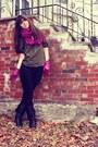 Army-green-diane-von-furstenberg-blouse-magenta-urban-outfitters-scarf-magen