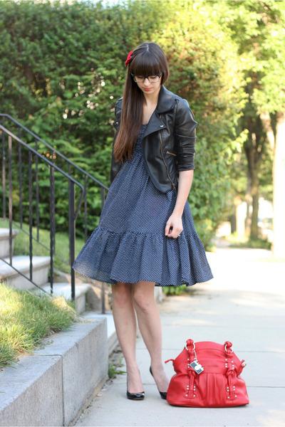 black Sheinside jacket - navy Jcrew dress - red Epiphanie Bags bag