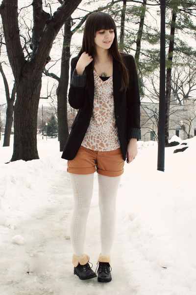 black Forever21 boots - black Express blazer - ivory Urban Outfitters tights - b