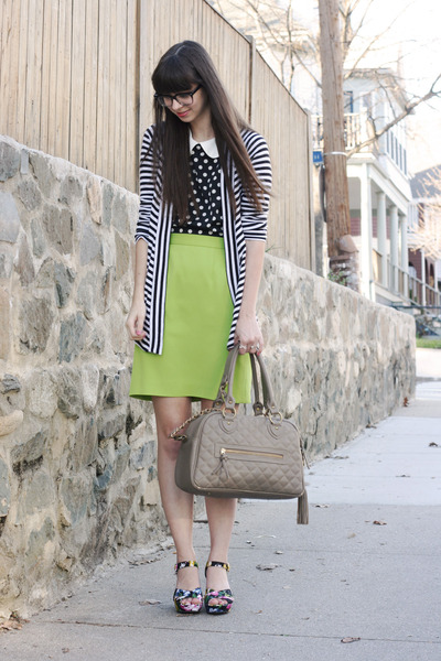 chartreuse thrifted skirt - black thrifted shirt - tan theIT bag