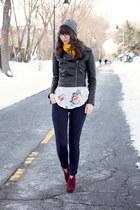 black Sheinside jacket - maroon Steve Madden boots - navy Old Navy jeans