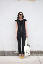 dark brown Warby Parker sunglasses - navy H&M pants - yellow shoemint pumps