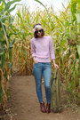 Brown-dsw-boots-sky-blue-loft-jeans-light-purple-thrifted-sweater