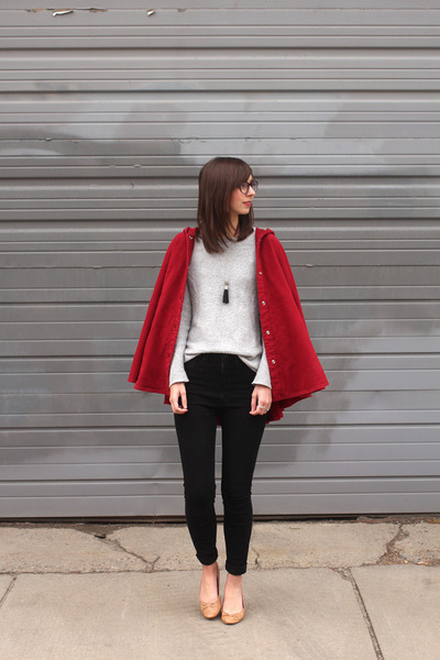 ruby red American Apparel coat - black Urban Outfitters jeans