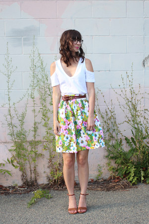 lime green vintage skirt - white asos t-shirt - brown Seychelles wedges