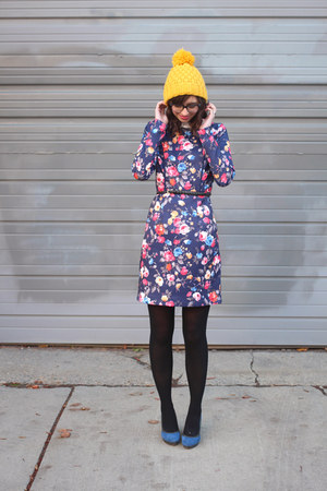 navy eShakti dress - mustard Irismint hat - black H&M tights