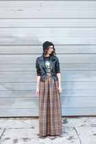 mustard handmade skirt - black H&M hat - black Sheinside jacket