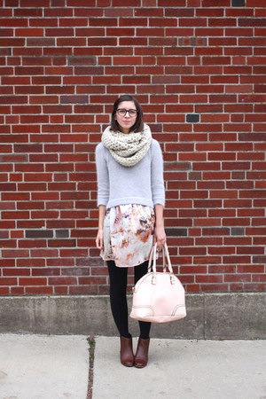 periwinkle Bebe sweater - brown DSW boots - light pink thrifted dress