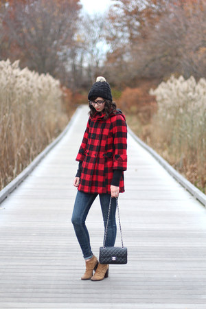 red Urban Outfitters coat - camel Boutique 9 boots - navy Old Navy jeans