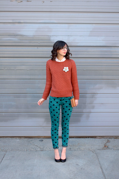 teal Forever 21 jeans - burnt orange Sheinside sweater