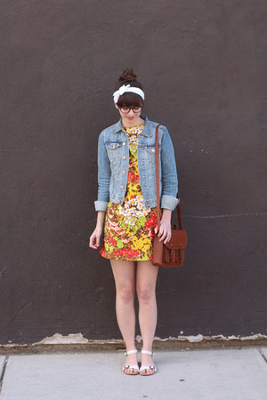 sky blue H&amp;M jacket - red vintage dress - brown H&amp;M bag