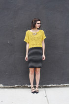black Loft skirt - yellow Remember A Day sweater - gold H&M necklace