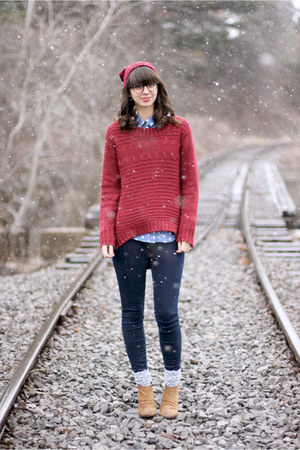 maroon Naomi and Lavender sweater - tan Boutique 9 boots - navy Old Navy jeans