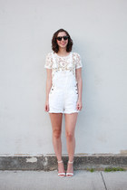 white thrifted shorts - white Loft top - white Lulus sandals