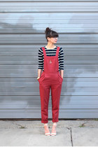 red asos pants - navy Jcrew top - white Lulus sandals