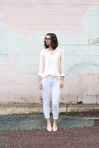 white Loft jeans - light pink Loft shirt - white shopHollyDolly necklace