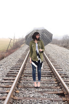 black thrifted cardigan - navy Old Navy jeans - olive green Forever21 jacket