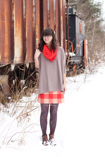 brown modcloth boots - beige thrifted sweater - gray Anthropologie tights