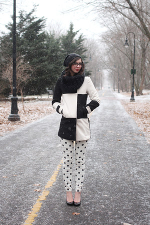 black Sheinside coat - ivory Forever21 pants - black Nine West pumps