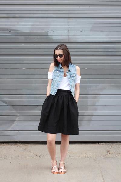 black Warby Parker sunglasses - sky blue Old Navy vest - black H&M skirt