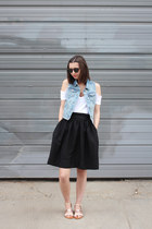 black Warby Parker sunglasses - sky blue Old Navy vest - black H&M skirt