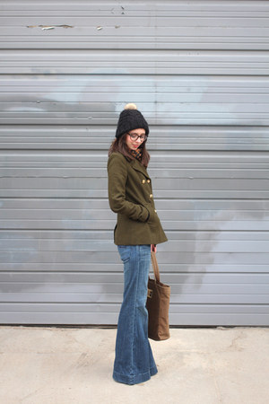 army green Old Navy coat - sky blue Gap jeans - black H&M hat