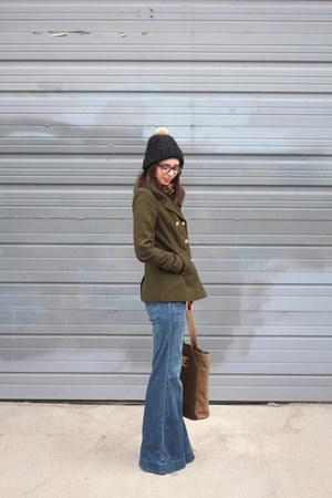 army green Old Navy coat - sky blue Gap jeans - black H&M hat